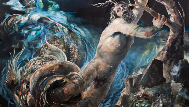 Jonah and the Big Fish, Oil on Panel, 8'x12', Knippers
